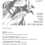 Aloardi concert 'Jump into the Mouth of the Wolf ': EHS / Dave Phillips /Anemone Tube (Villa K, The Hague, NL)